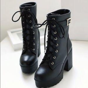Shoes - Lace-up belt buckle boots.